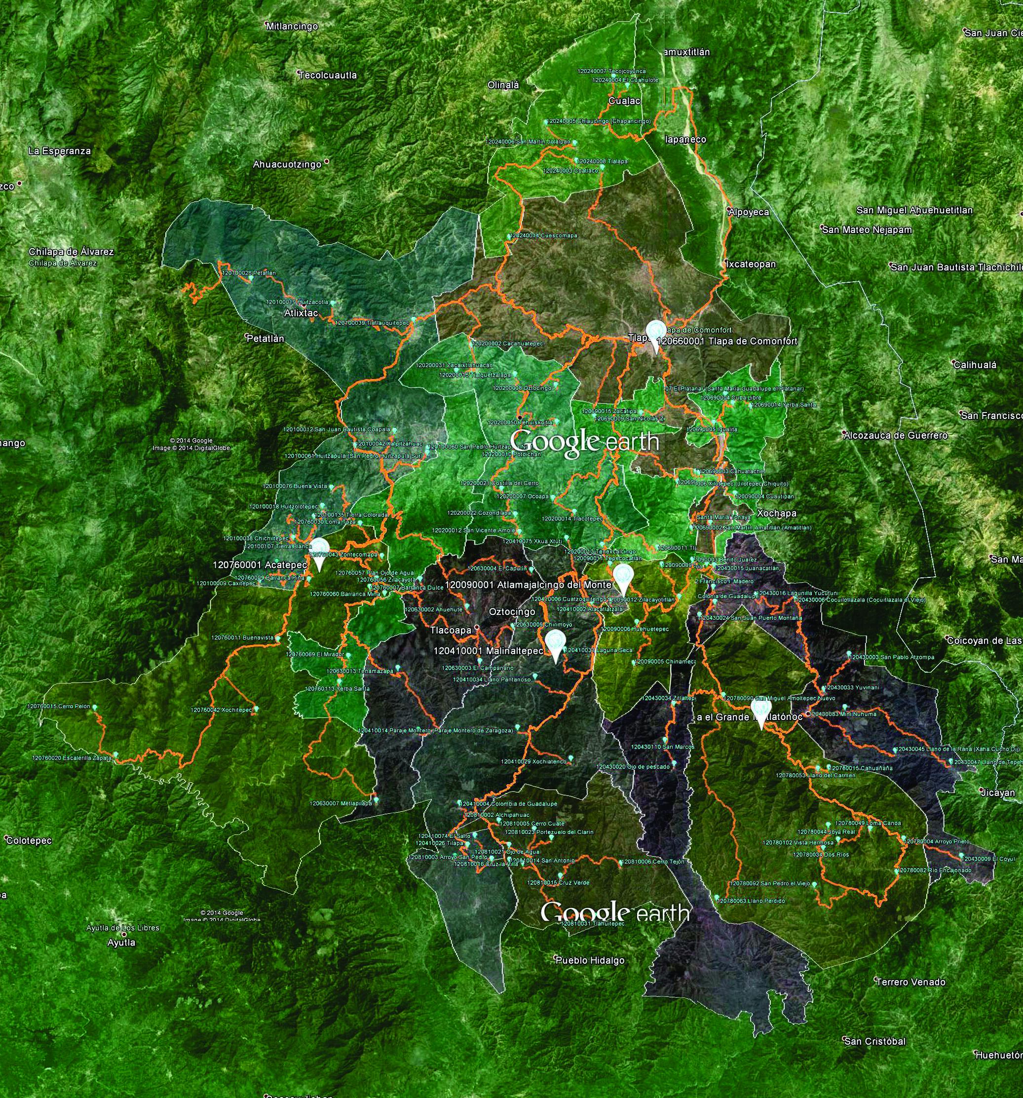 mapa de la zona mazahua de Guerrero