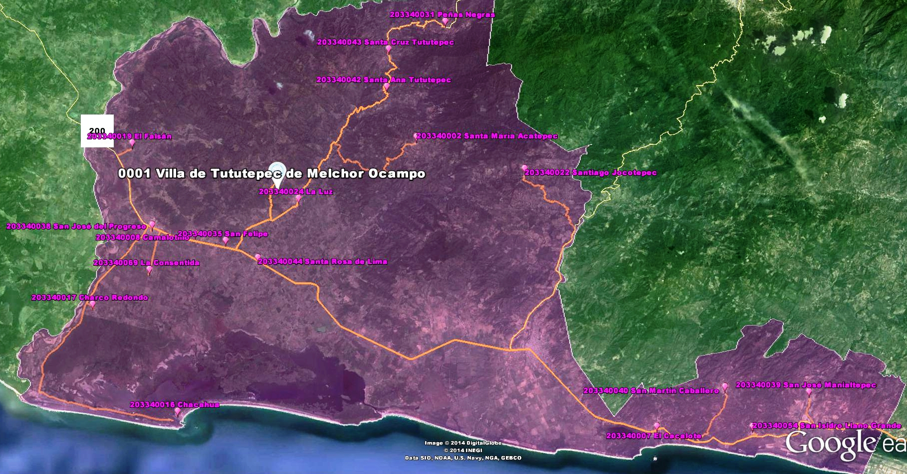mapa de la zona mazahua de Oaxaca